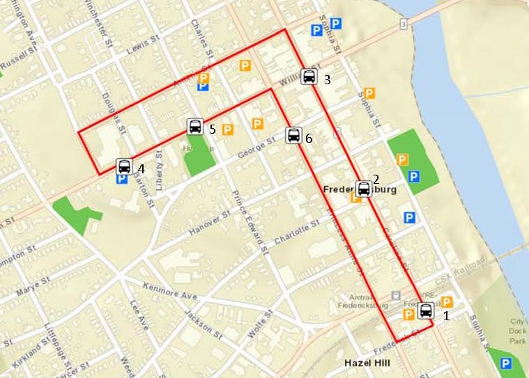 Fredericksburg City Trolley Circulator on Weekend Nights