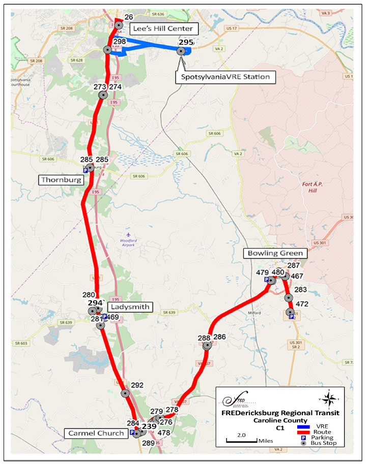 C1 FRED Bus Route map