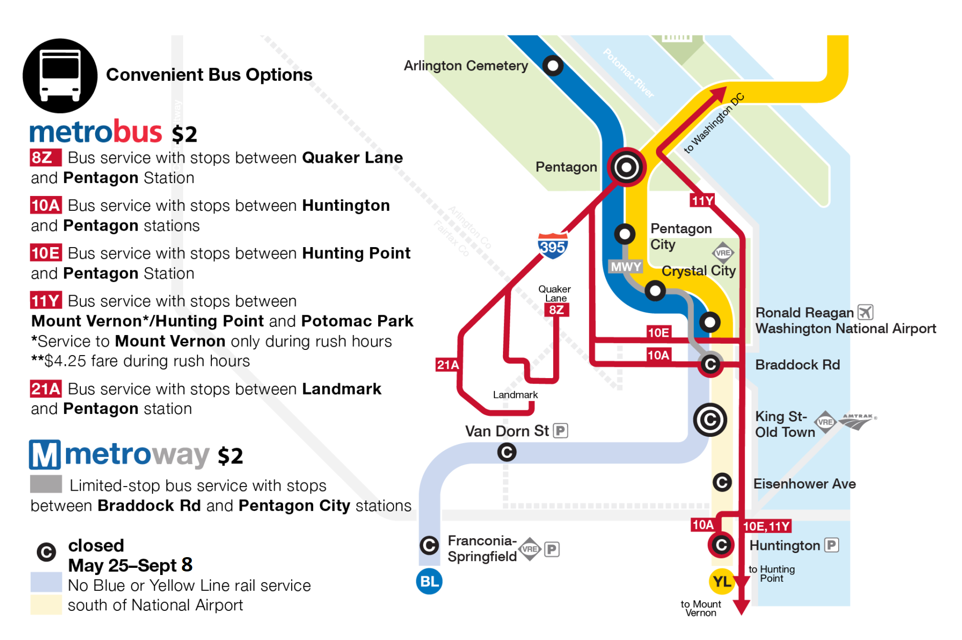 Map of bus and shuttle options